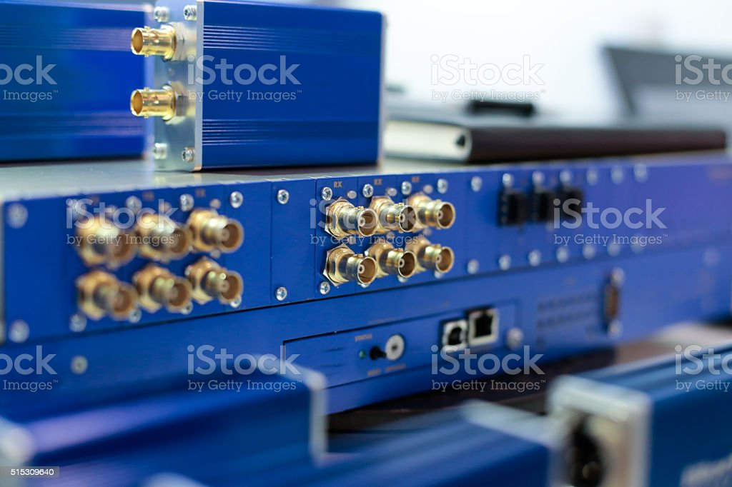 Blue video processing unit stock photo