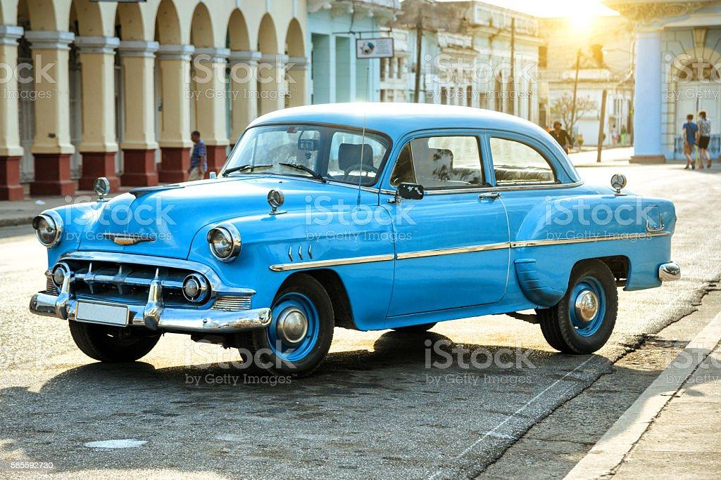 blue vintage car in Cienfuegos, Cuba stock photo
