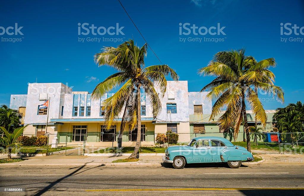 Blue Vintage car in Miramar stock photo