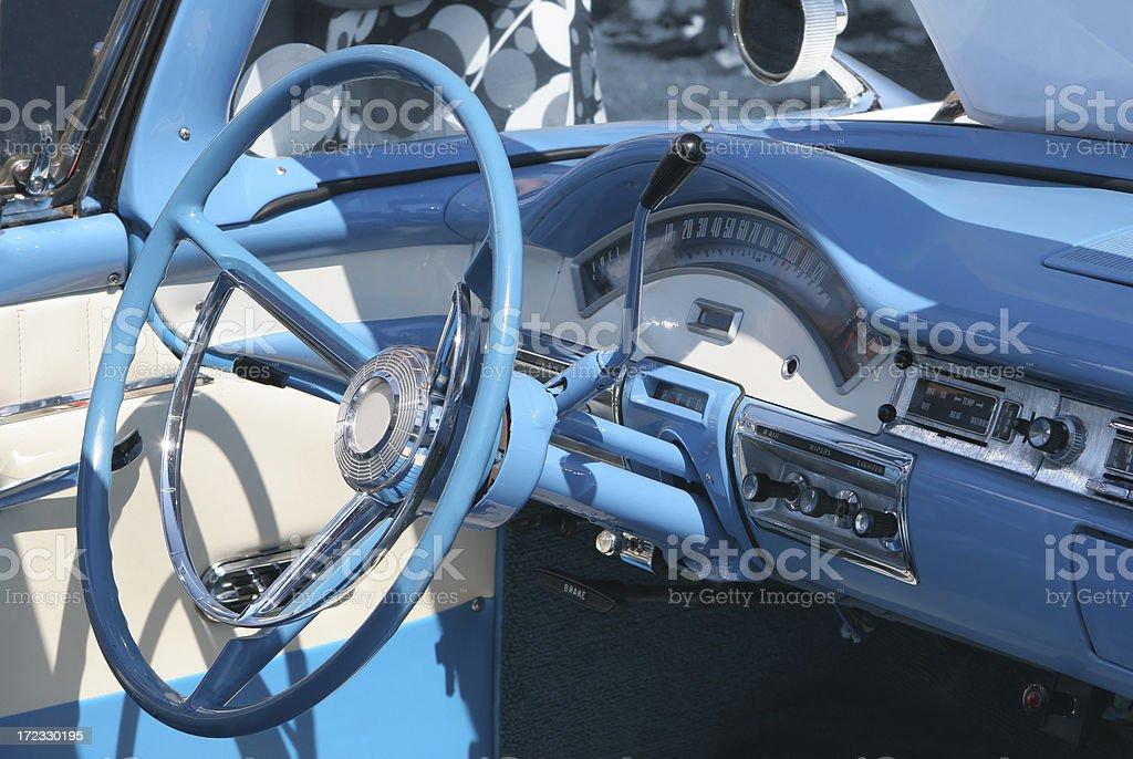 Blue Vintage Car Interior royalty-free stock photo