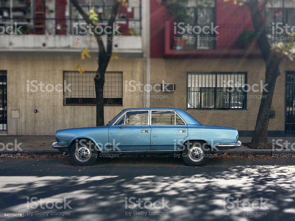 Blue vintage car stock photo
