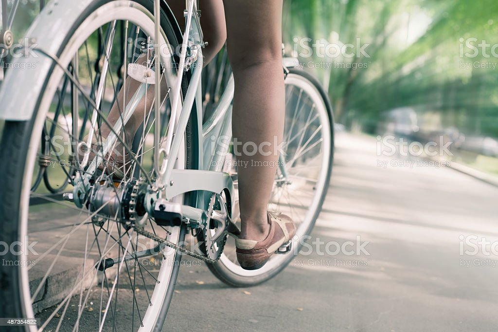 blue vintage city bicycle, concept for activity and healthy lifestyle stock photo