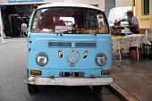 Blue Vintage Minibus Volkswagen Type 2 Van