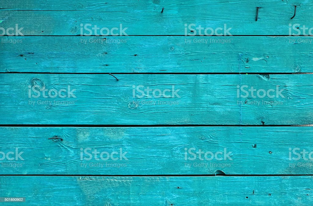 Blue vintage painted wooden panel with horizontal planks stock photo