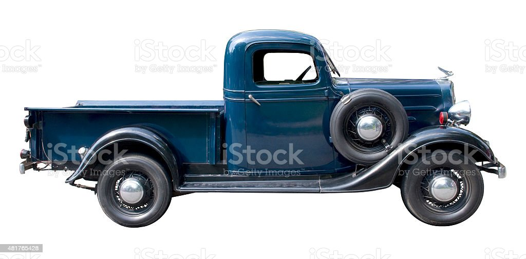 Blue vintage pickup truck from 1930s stock photo