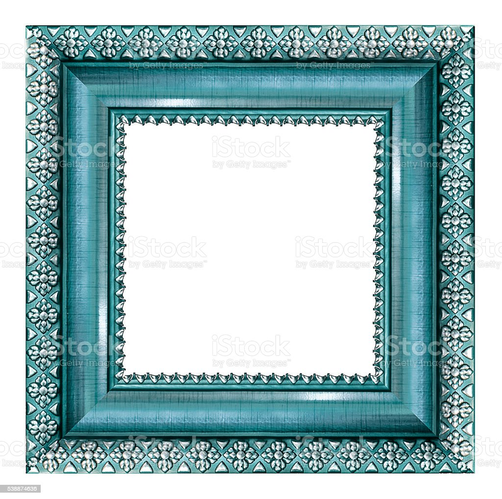 Blue vintage picture and photo frame isolated on white background stock photo