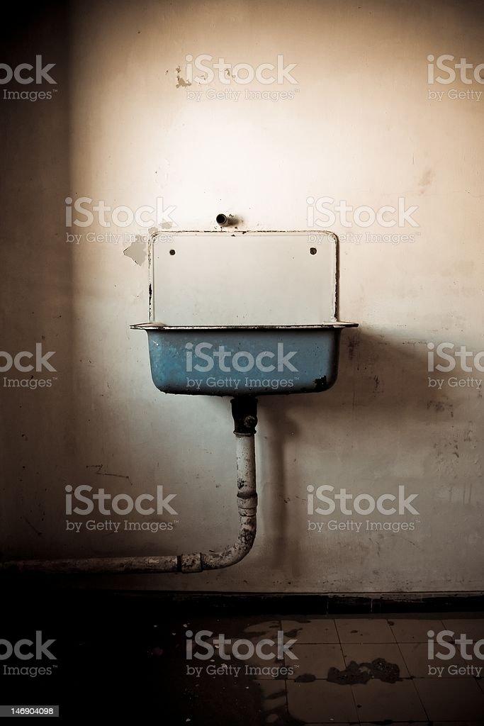 Blue vintage washing basin stock photo