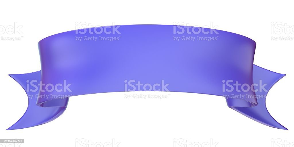 Blue, violet ribbon tag label. 3D stock photo
