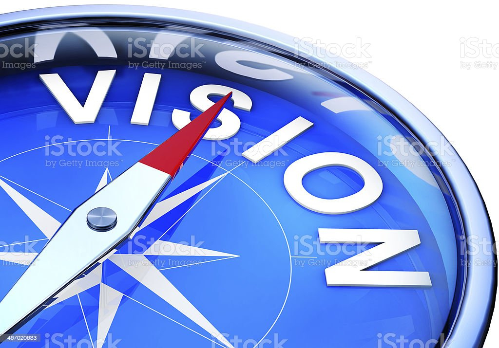 Blue vision compass on white background stock photo