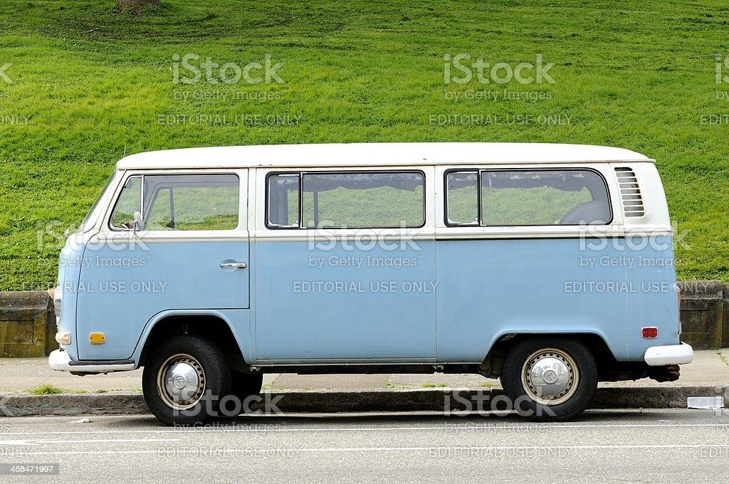 Blue Volkswagen Bus in Alamo Square San Francisco stock photo