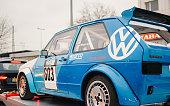 Blue Volkswagen GTI racing car