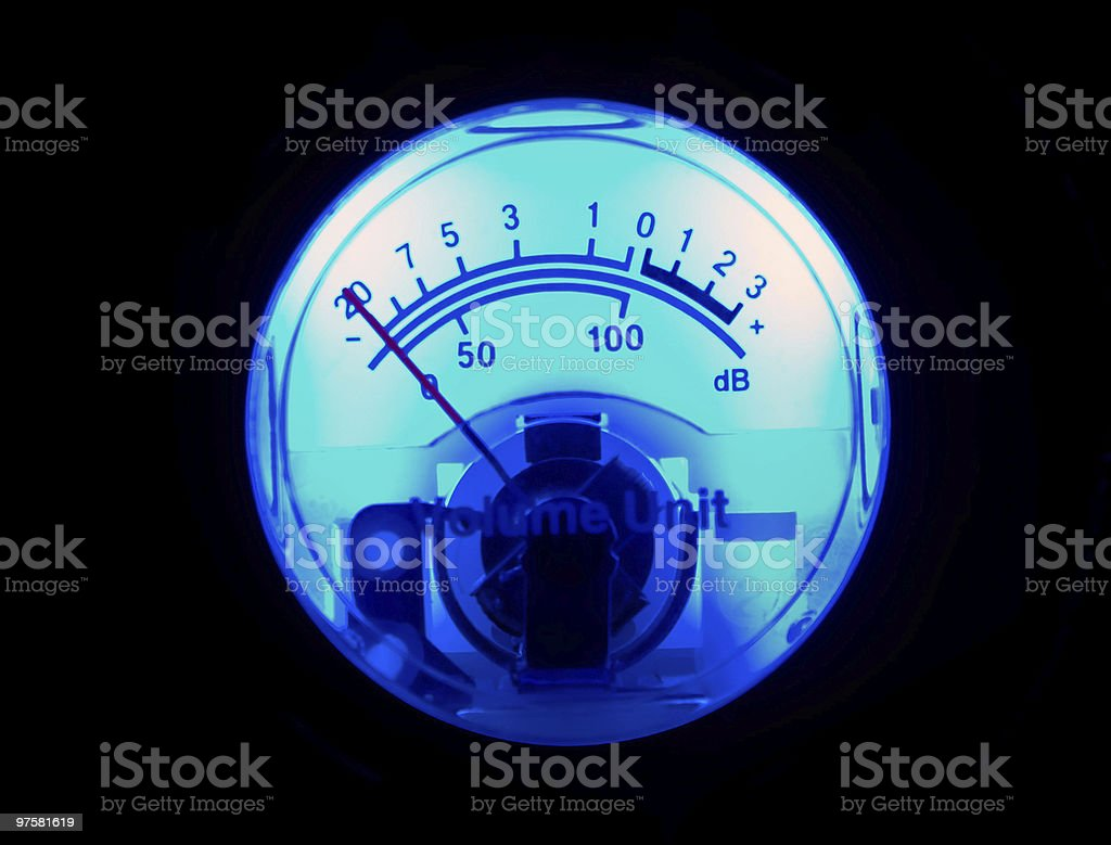 Blue vu meter isolated on black stock photo