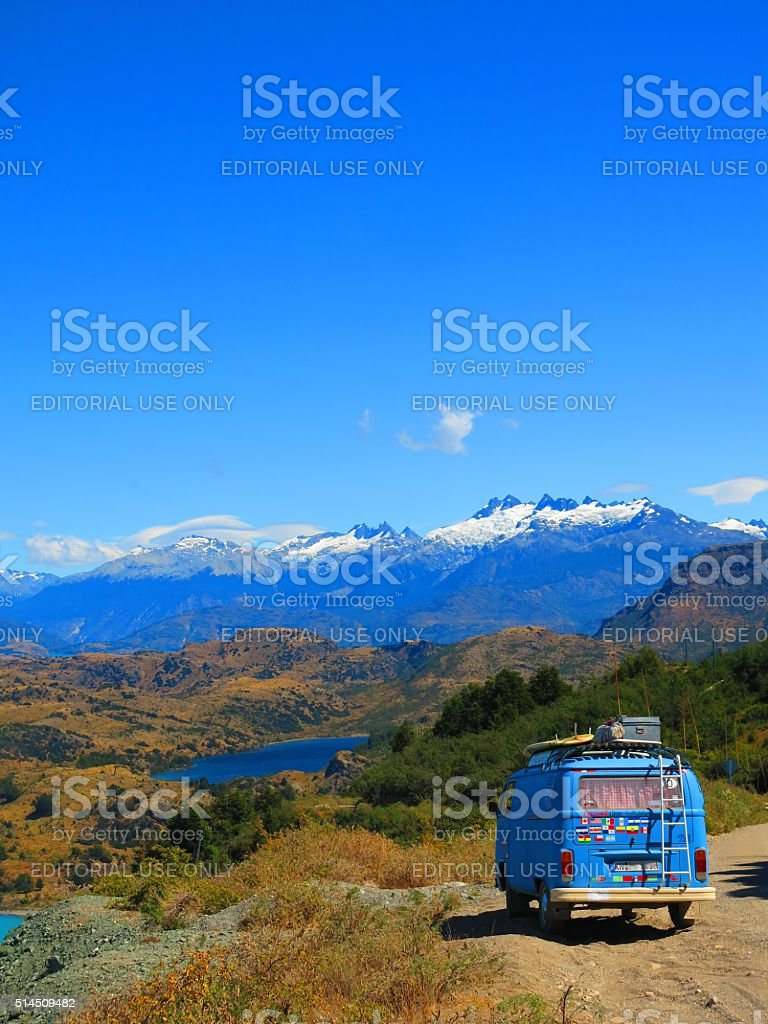 Blue VW bus on Carretera Austral in Chile stock photo