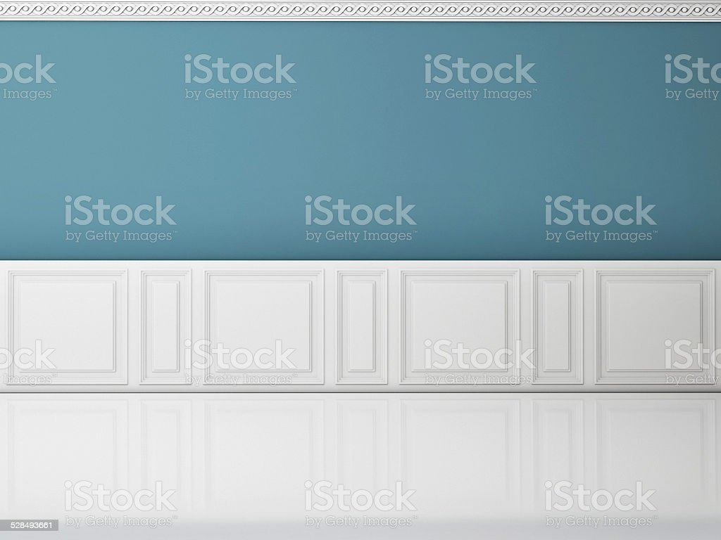 Blue wall in a classic style and reflection white floor stock photo