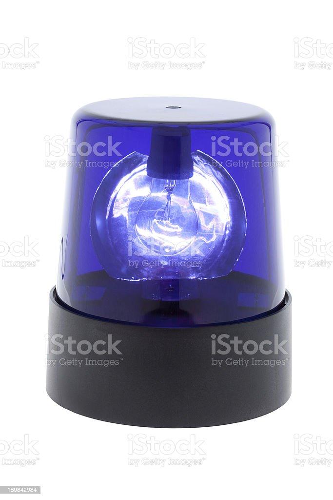 blue warning light isolated royalty-free stock photo