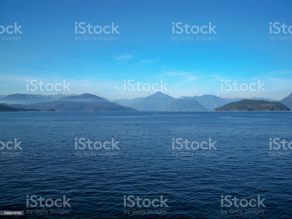 Blue water and blue sky stock photo