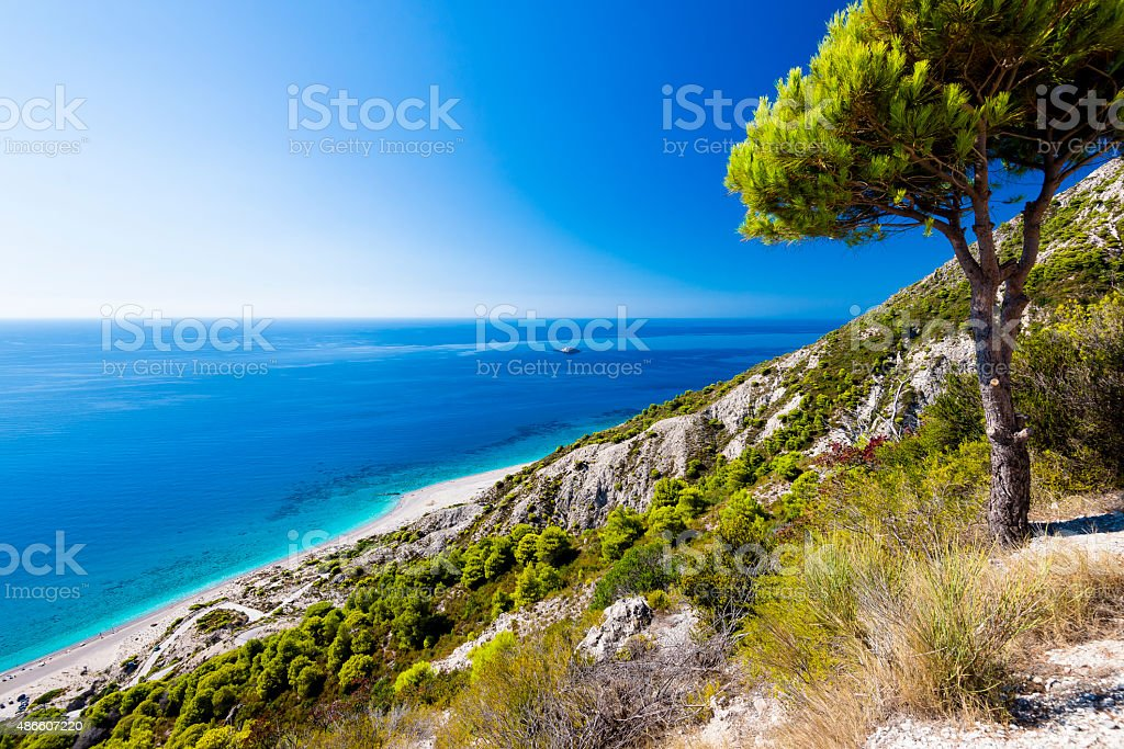 Blue water at Gialos beach in Lefkada stock photo