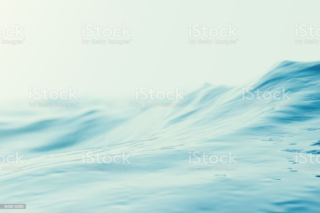 Blue water background with ripples, sea, ocean wave low angle stock photo