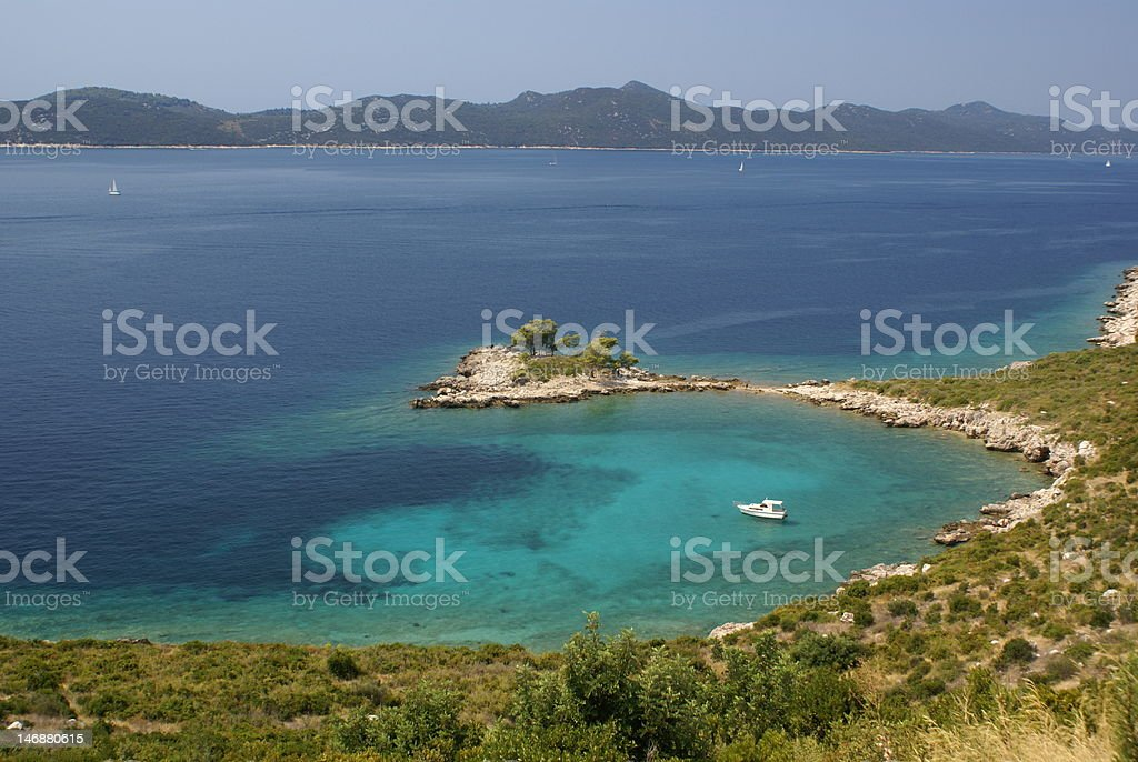 Blue water bay royalty-free stock photo