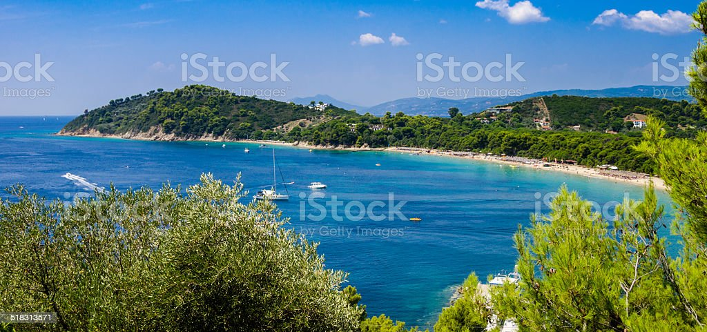 Blue water bay stock photo