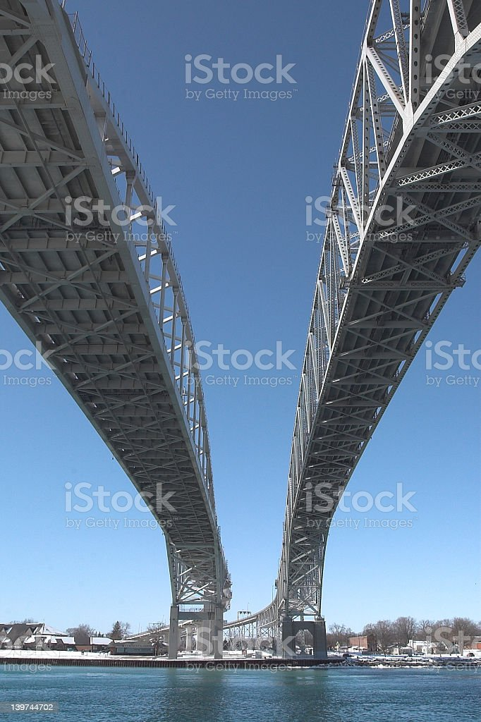 Blue Water Bridge seen from underneath with blue sky above stock photo
