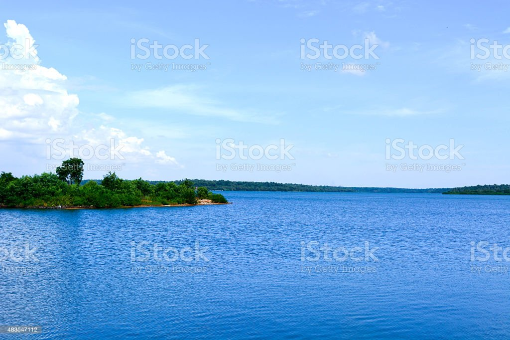 Blue water lake stock photo