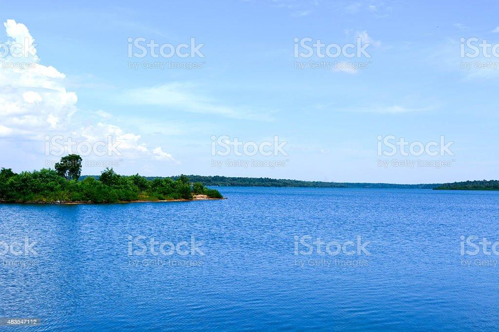 Blue water lake stock photo