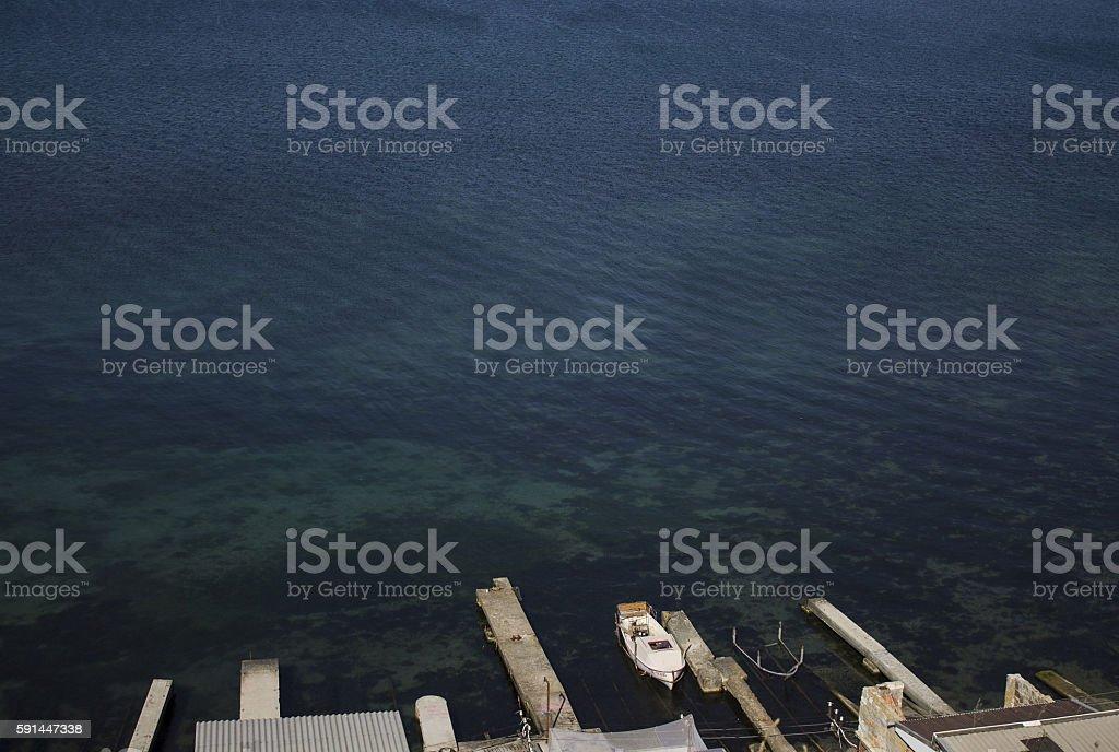 Blue water of the Black Sea. Theodosius stock photo