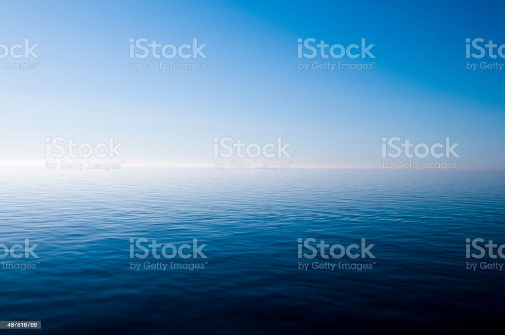 blue water surface, Sea, Horizon Over Water stock photo
