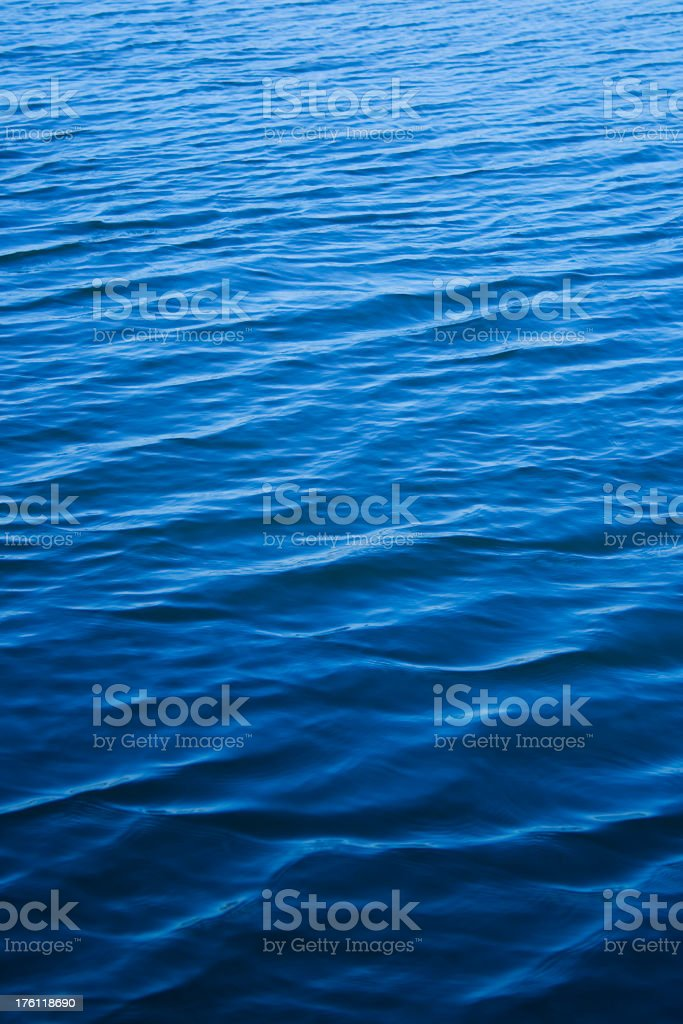 Blue water surface with very small waves, almost still royalty-free stock photo