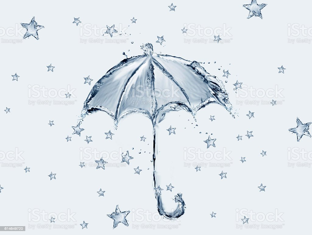 Blue Water Umbrella and Stars royalty-free stock photo
