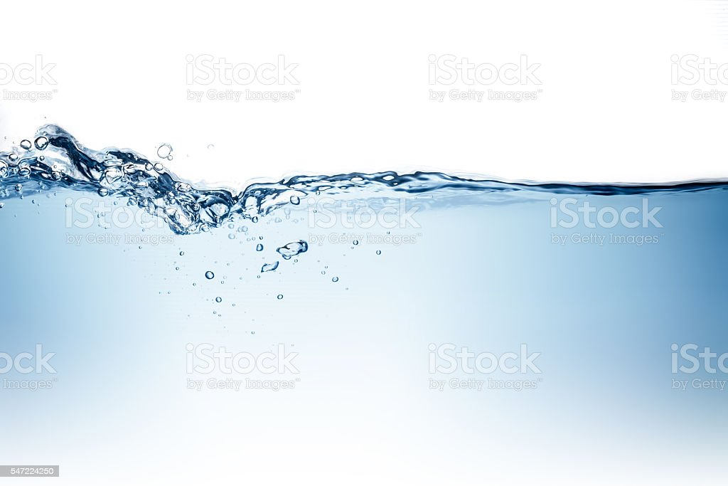 Blue water wave and bubbles to clean drinking water stock photo