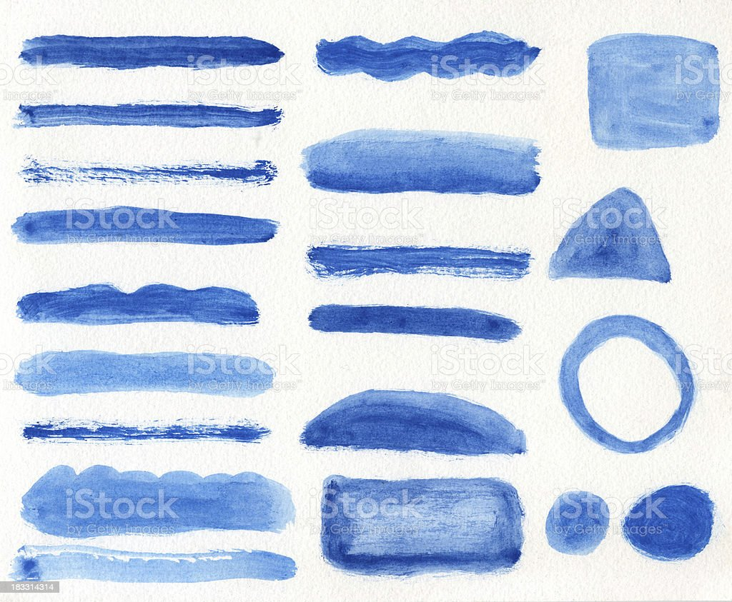 Blue Watercolor Banner Textures royalty-free stock photo