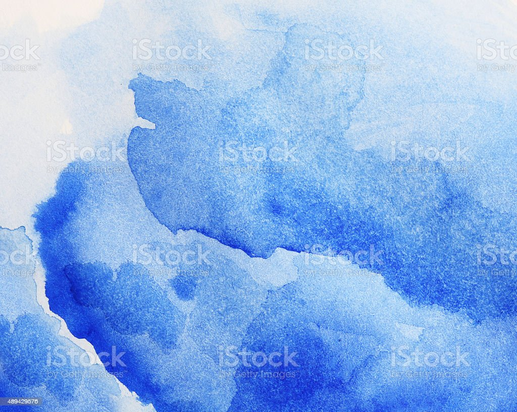 Blue watercolor painting. stock photo