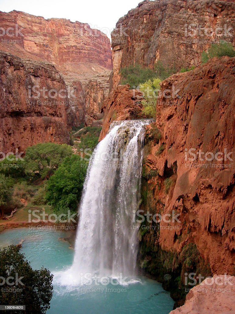 Blue waterfall - red canyon royalty-free stock photo