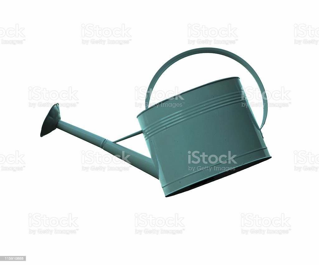 Blue Watering Can Isolated royalty-free stock photo