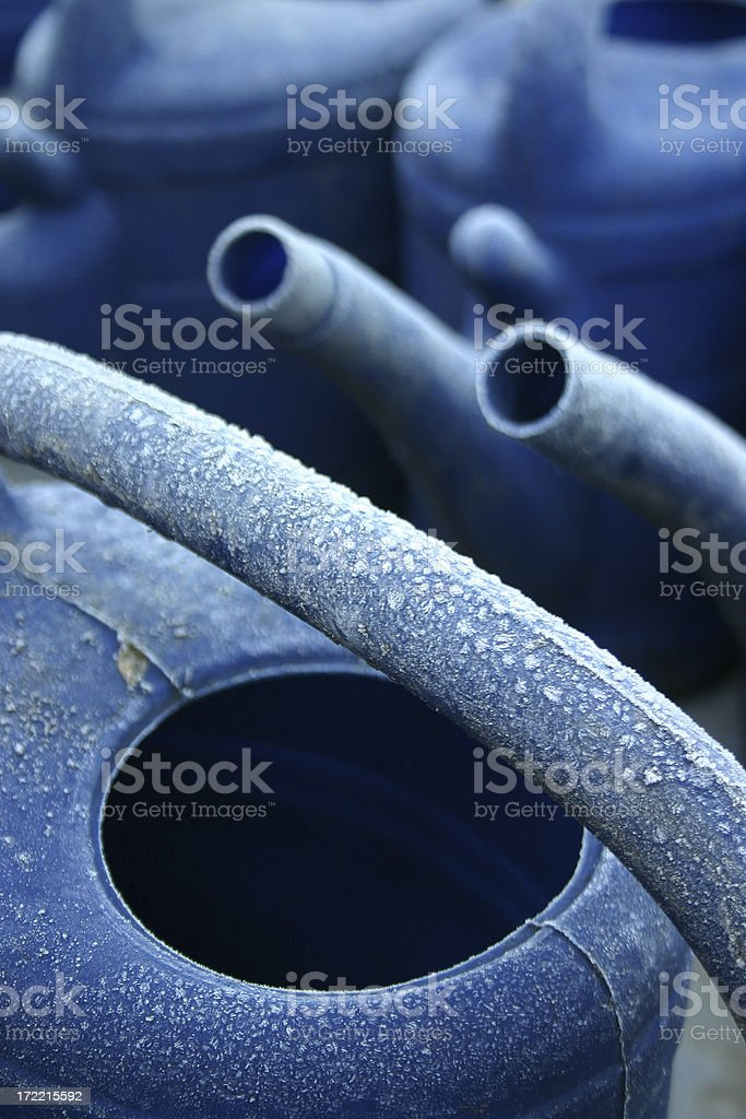 Blue Watering Cans royalty-free stock photo