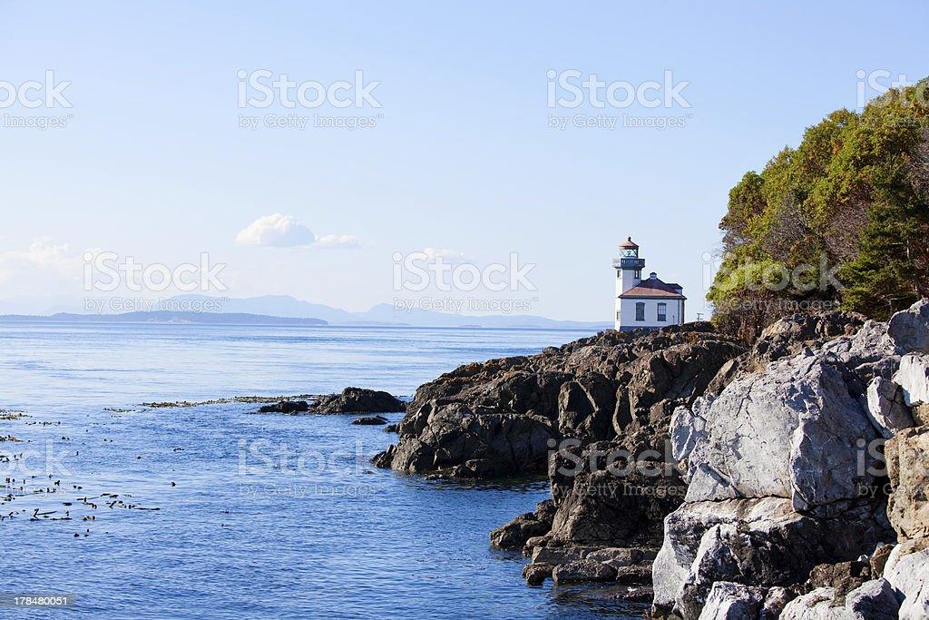 Blue waters off coast of San Juan island, Washington state stock photo
