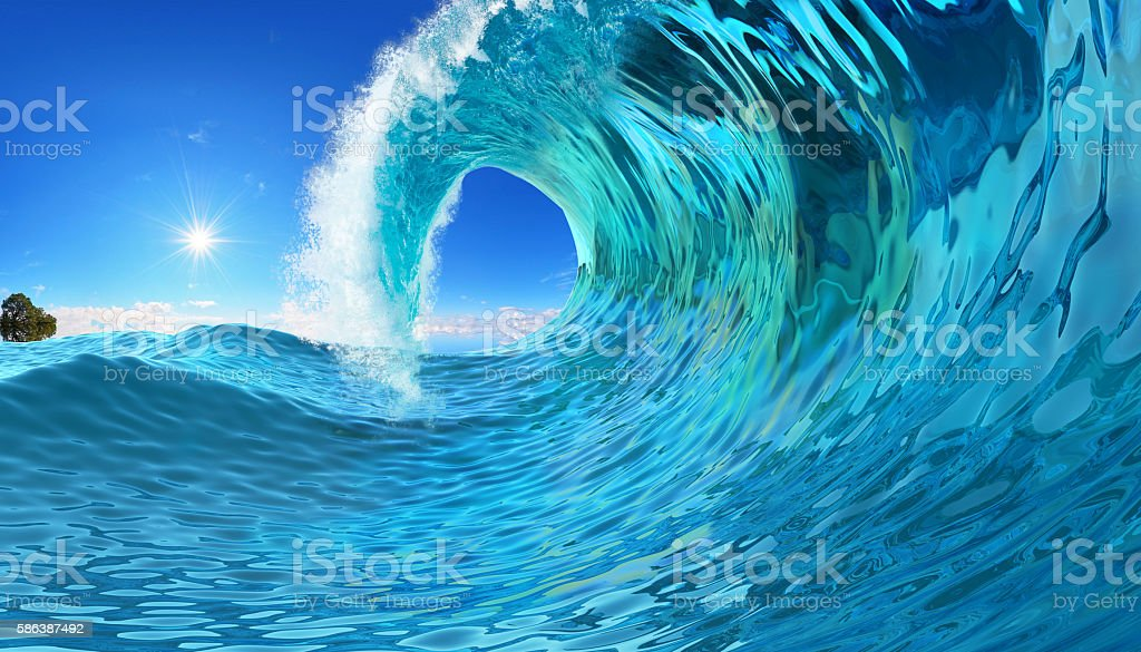 Blue wave twirl stock photo
