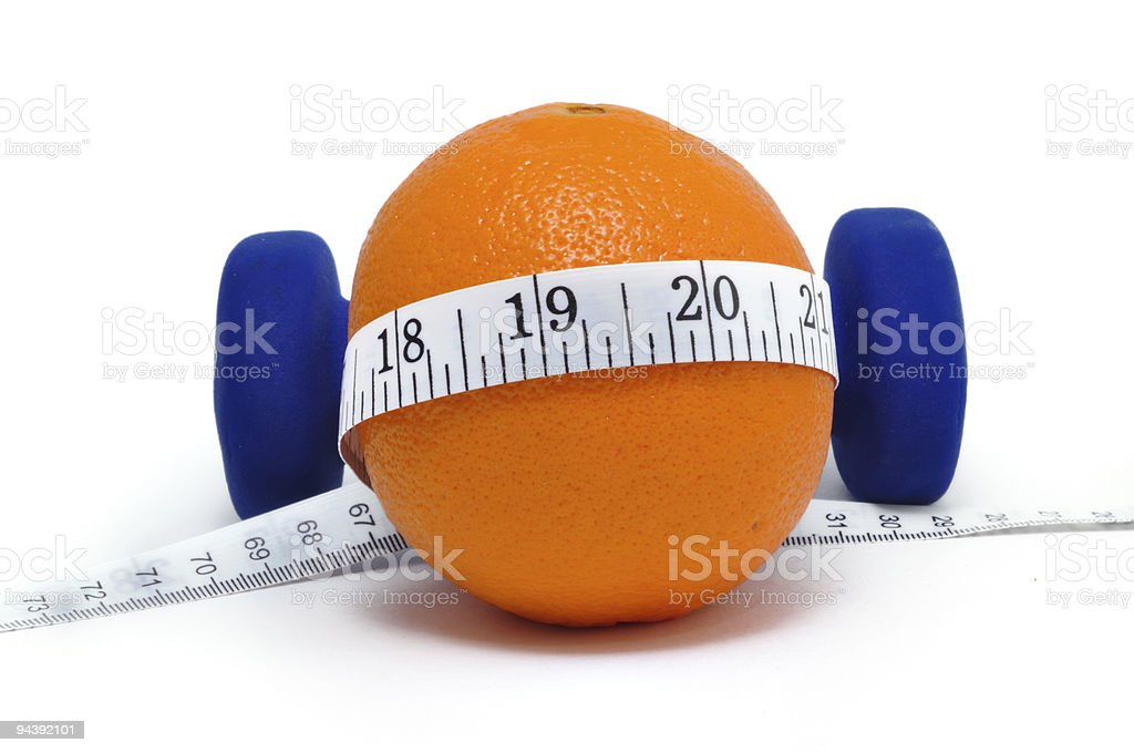 Blue Weights, Orange, and Tape Measure royalty-free stock photo