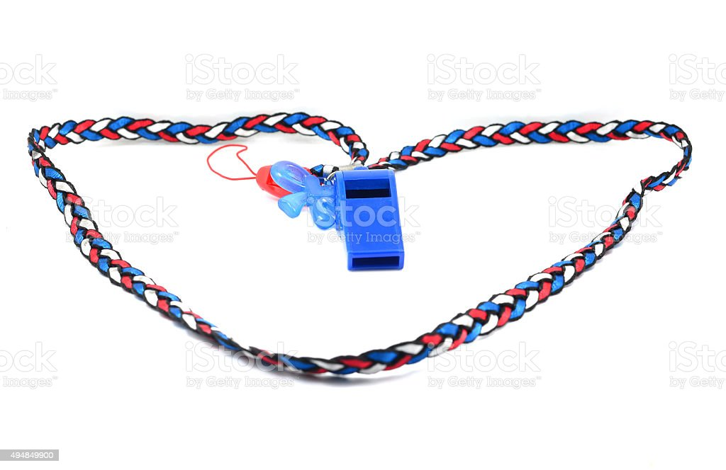 Blue whistle with Thailand national flag lanyard in heart shape stock photo