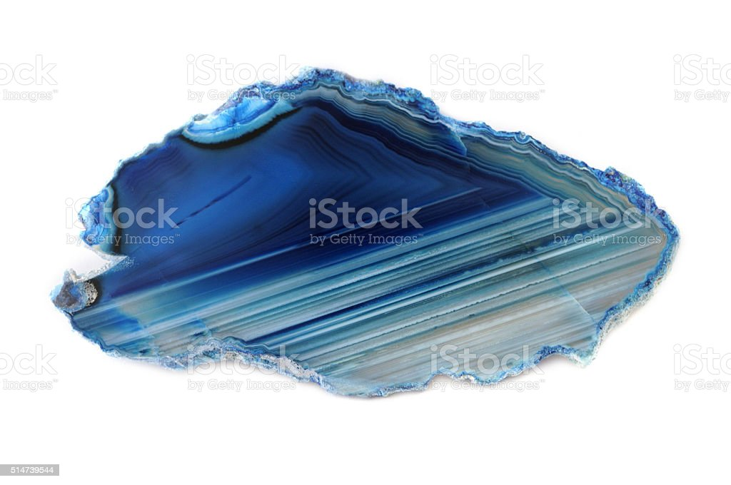 blue white agate stone stock photo