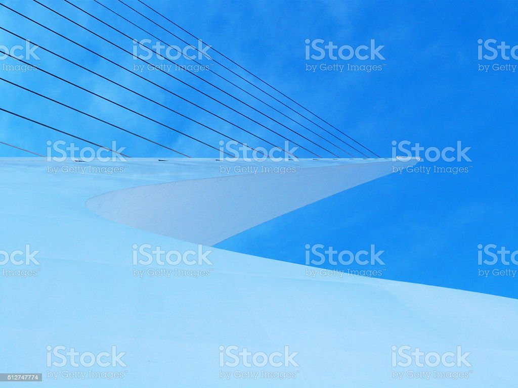 Blue White Modern Suspension Bridge Tower Abstract Architecture Blue Sky stock photo