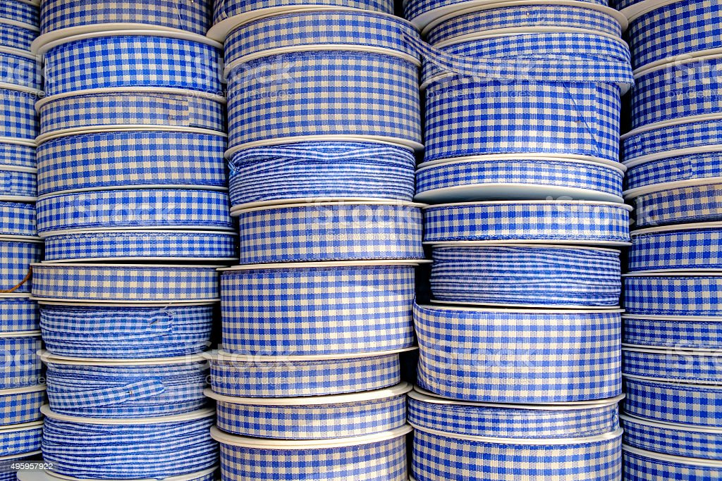 blue white patterned wrapping ribbons stock photo