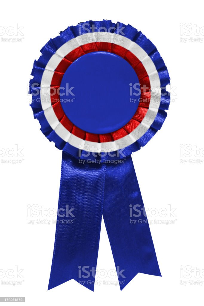 Blue white red ribbon stock photo