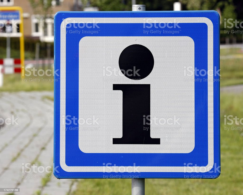Blue white square traffic sign with black 'i' for Information royalty-free stock photo