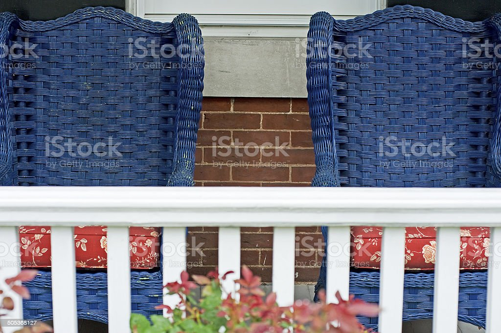 Blue Wicker Chairs on Porch stock photo