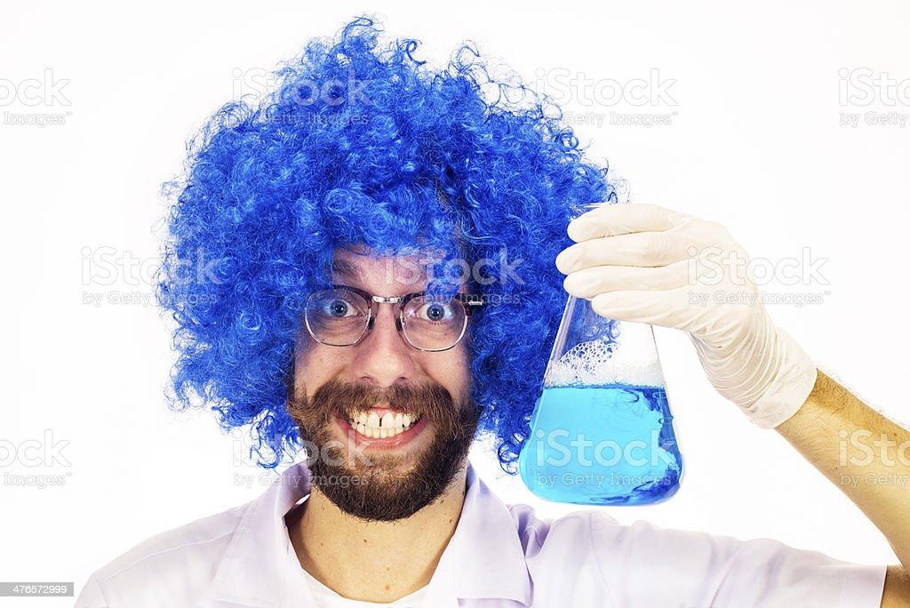 Blue Wig Mad Scientist stock photo