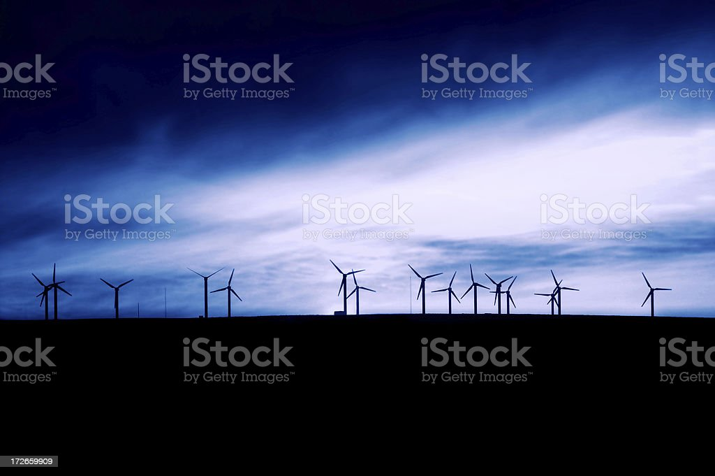 Blue Windmills royalty-free stock photo
