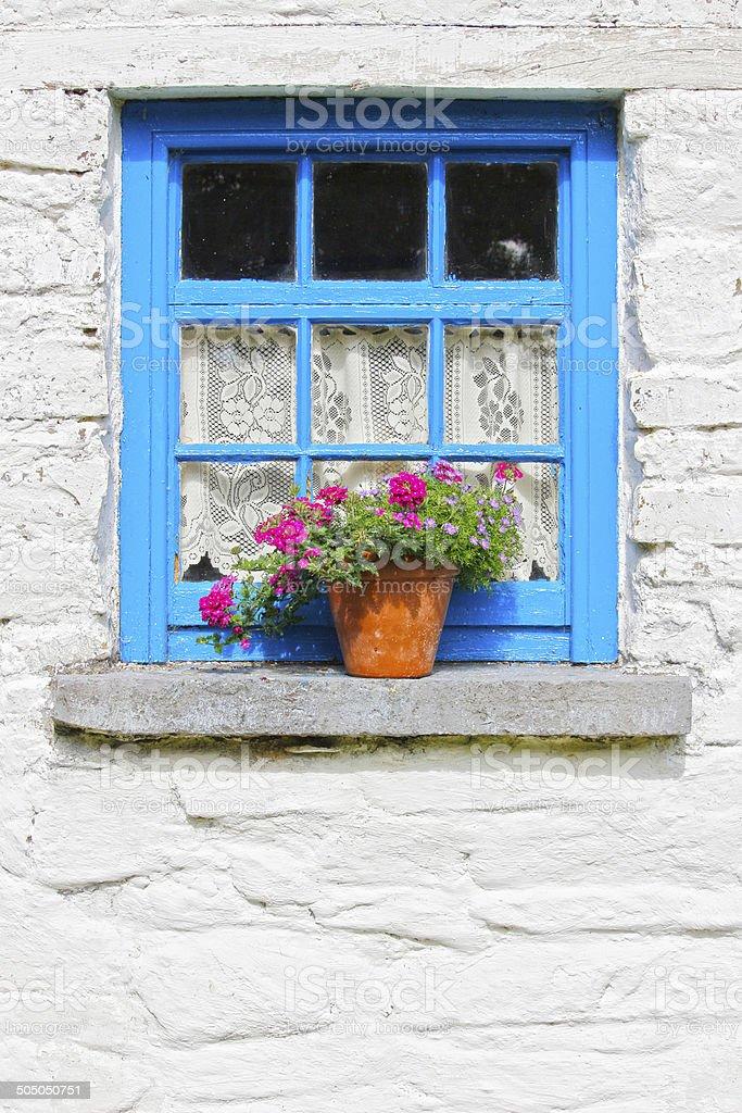Blue window at traditional Irish cottage stock photo
